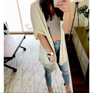 UO Silence + Noise Open Front Cream Cardigan S